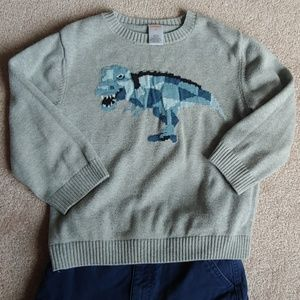 Gymboree Dinosaur 4T Sweater Toddler Boy Gray Blue